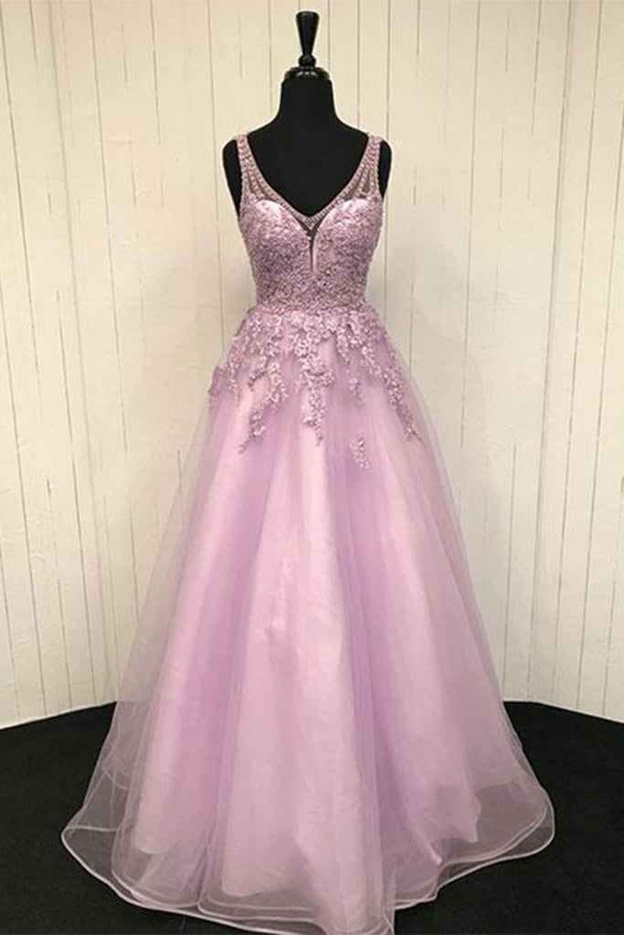 2019 Prom Dresses | 2019 Pink tulle V neck lace appliqué long open back senior prom dress, pink beaded evening dress