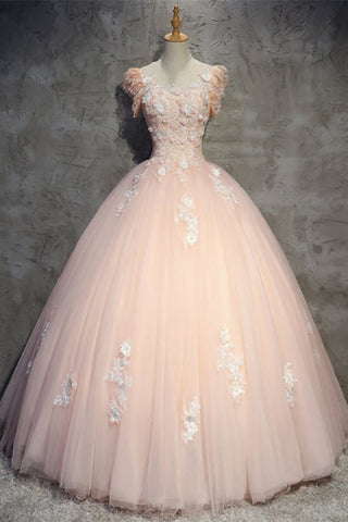 Princess pink tulle O neck long formal prom dress, long lace evening dress with sleeves