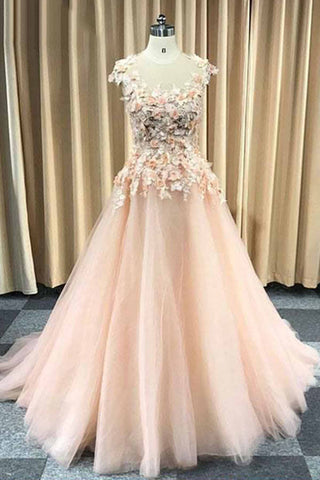 Pretty pink tulle cap sleeves long floral lace appliqué evening dress, senior prom dress