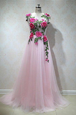 Pink tulle long sheer A-line senior prom dress with appliqué, pink tulle party dress