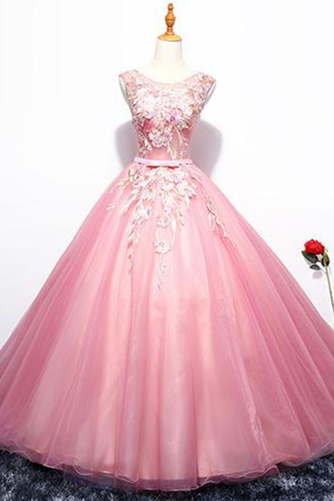 Sweet 16 Dresses | Elegant pink tulle scoop neck sweet 16 prom dress, long A-line evening dress with appliqués