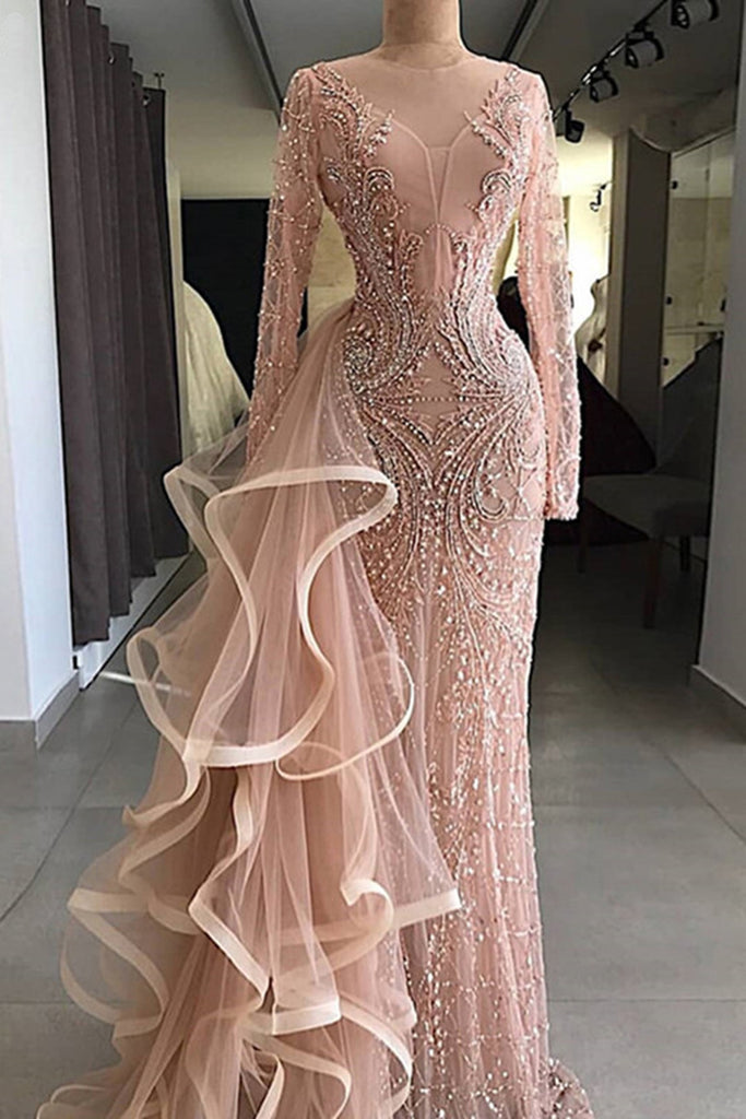 2019 Prom Dresses | 2019 Gorgeous champagne pink long sleeves mermaid formal mother prom dress, evening dress with ruffles