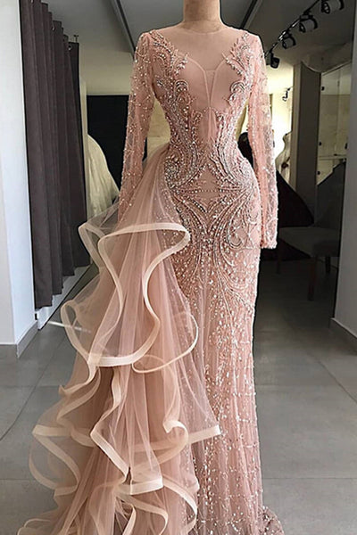 Sweet 16 Dresses | 2019 Gorgeous champagne pink long sleeves mermaid formal mother prom dress, evening dress with ruffles