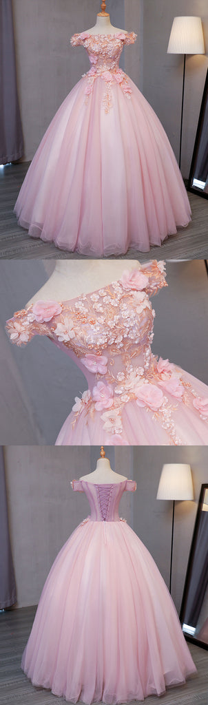 54b1fc02bccdd ... Sweet 16 Dresses | Pink tulle puffy off shoulder long formal prom dress,  long strapless ...