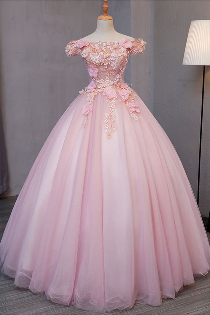 Sweet 16 Dresses | Pink tulle puffy off shoulder long formal prom dress, long strapless pink flower appliqués party dress