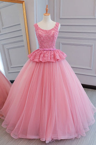 Pink tulle scoop neck long crystal and beaded senior prom dress, lace formal dress