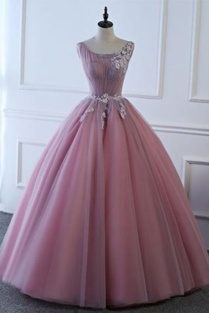 Pink tulle floor length senior prom dress with lace appliqués ...