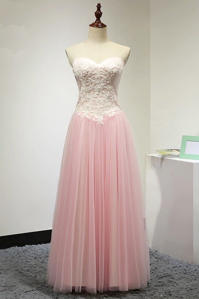 Pink tulle floor length senior prom dress, white lace top long ...