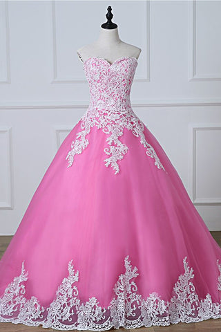 Strapless Pink Tulle  Long Quinceanera Dress,  Long Lace Up Prom Dress