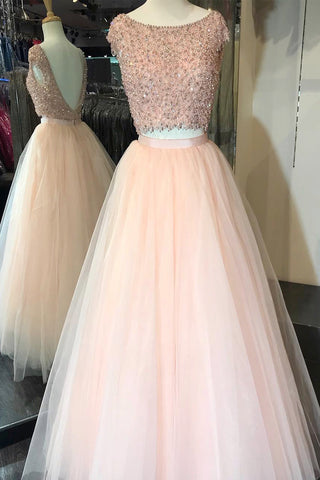 Pink tulle two piece long crystal open back spring prom dress with cap sleeve