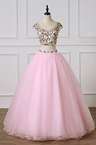 Pink Tulle Two piece Long Open Back Prom Dress, Beaded Homecoming Dress