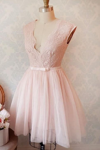Pink tulle short lace V neck bridesmaid dress, short prom dress with bowknot