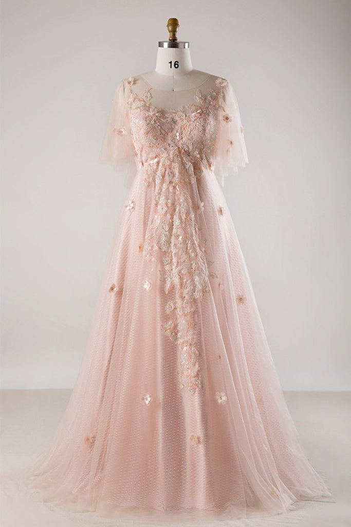 Pink tulle plus size long lace formal prom dress, pink short sleeve evening  dress