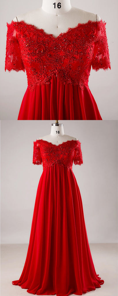 Red chiffon off shoulder short sleeve long formal prom dress, plus size  evening dress