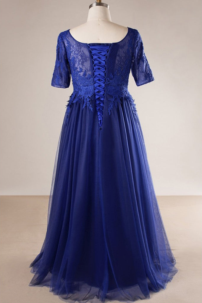 Royal blue tulle long plus size evening dress, long lace prom dress ...