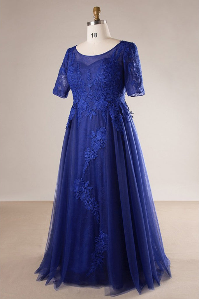 Royal Blue Tulle Long Plus Size Evening Dress Long Lace Prom Dress