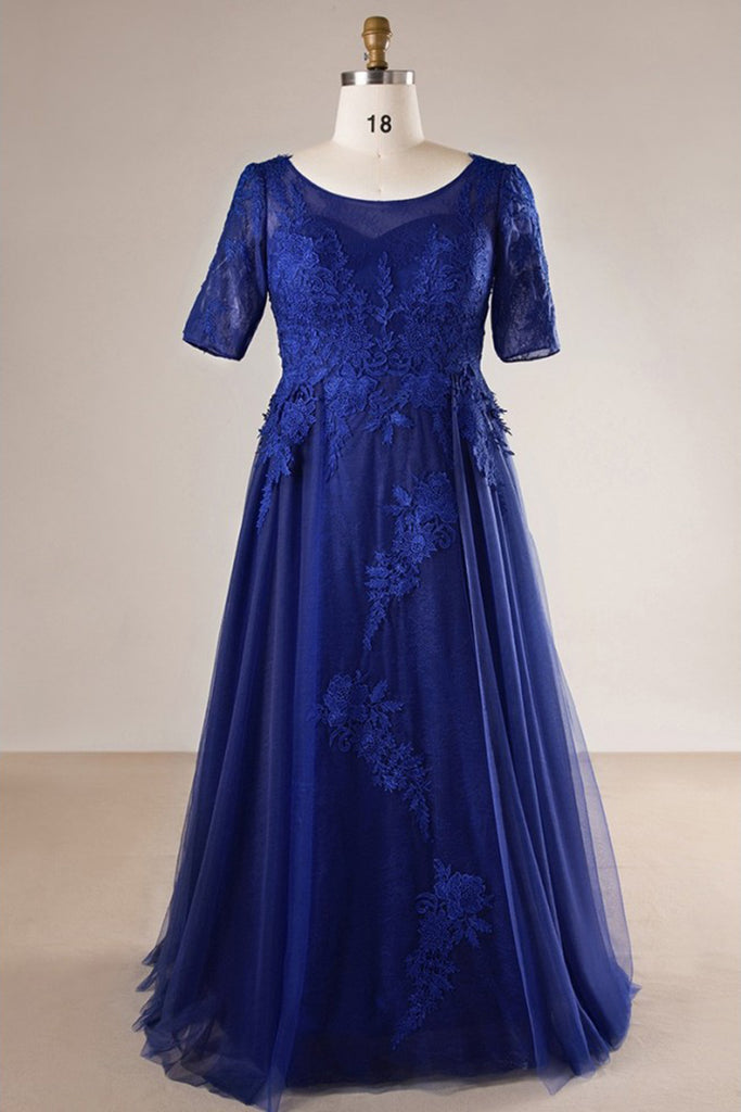 Royal blue tulle long plus size evening dress, long lace prom dress with  sleeves