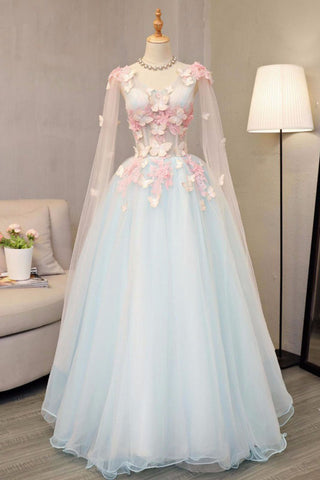 d28a05d58b56 Sky blue tulle long A-line sweet 16 prom dress, long V neck butterfly