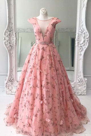 Pink tulle long scoop neck floral spring prom dress with cap sleeves