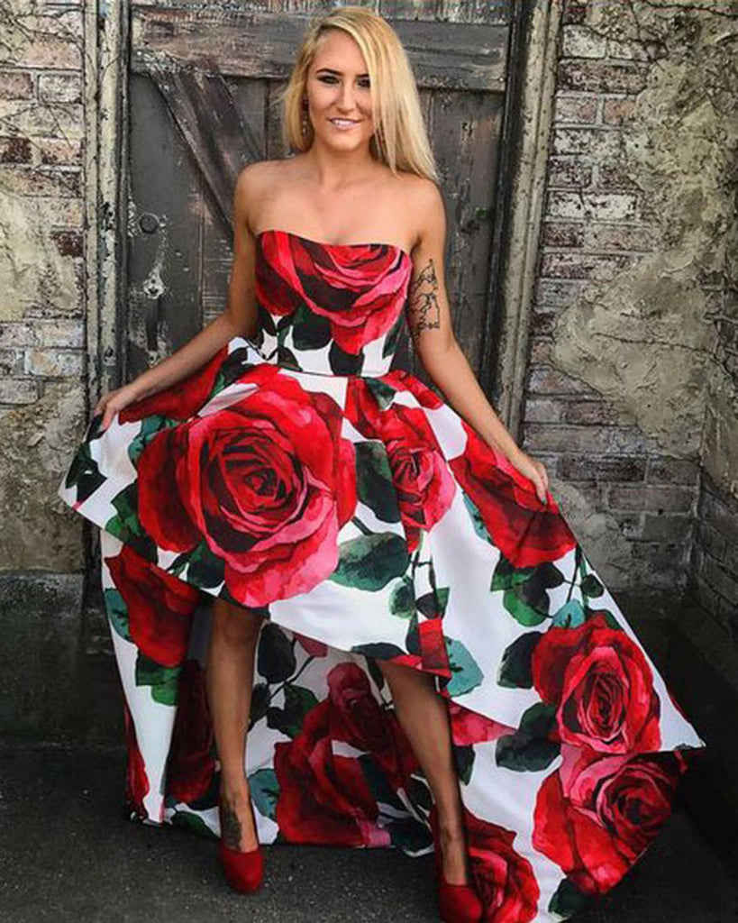 92f0a6845d Spring red flower floral long A-line lace up party dress