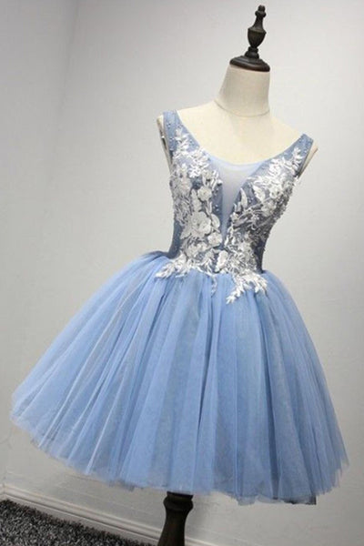 2018 evening gowns - New brand light blue tulle short white lace appliqués prom gown, bridesmaid dress