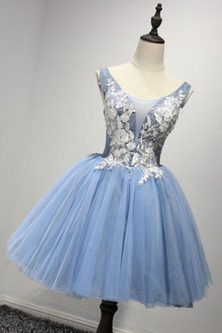New brand light blue tulle short white lace appliqués prom gown, bridesmaid dress