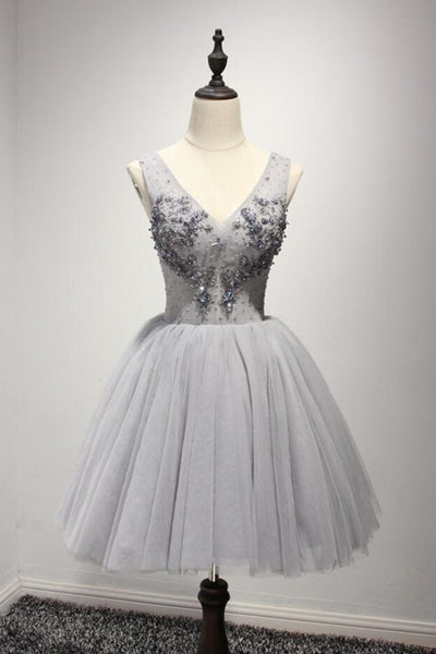2018 evening gowns - Grey tulle short V neck beaded prom dress, lace appliqués party dress