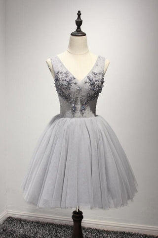 Grey tulle short V neck beaded prom dress, lace appliqués party dress
