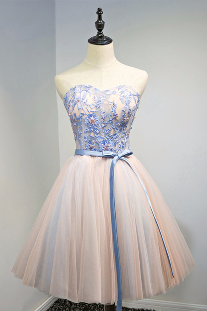 Cute blue lace flower strapless short prom dress, tulle homecoming ...