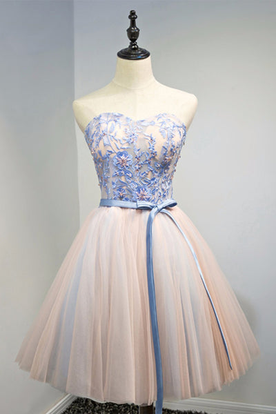 2019 Prom Dresses | Cute blue lace flower strapless short prom dress, tulle homecoming dress