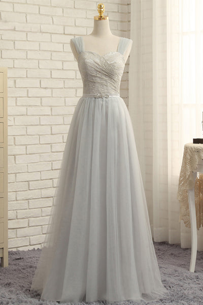 Sweet 16 Dresses | Simple gray tulle long lace top prom dress, A-line homecoming dress