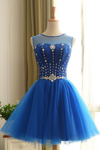 Shiny royal blue tulle mini party dress, beaded halter prom dresses