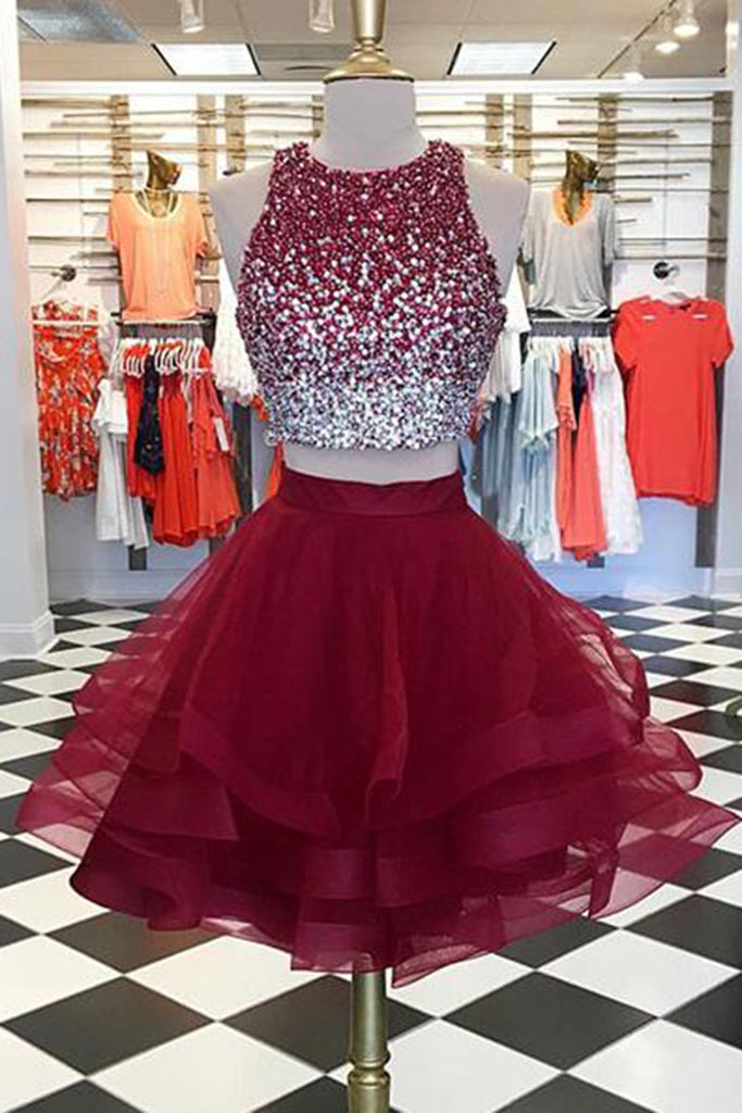 Sweet 16 Dresses | Burgundy tulle two pieces short homecoming dress with sequins