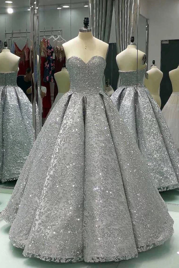 Sweetheart gray sleeveless long sequins ball gown, shiny winter ...