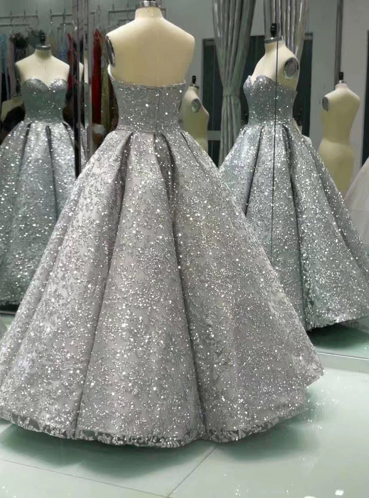 Sweetheart Gray Sleeveless Long Sequins Ball Gown Shiny Winter