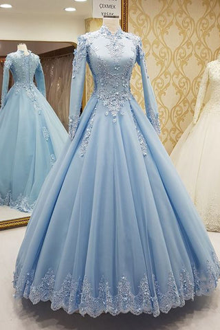 2019 Prom Dresses | Blue tulle high neck customize formal evening dress with long sleeves