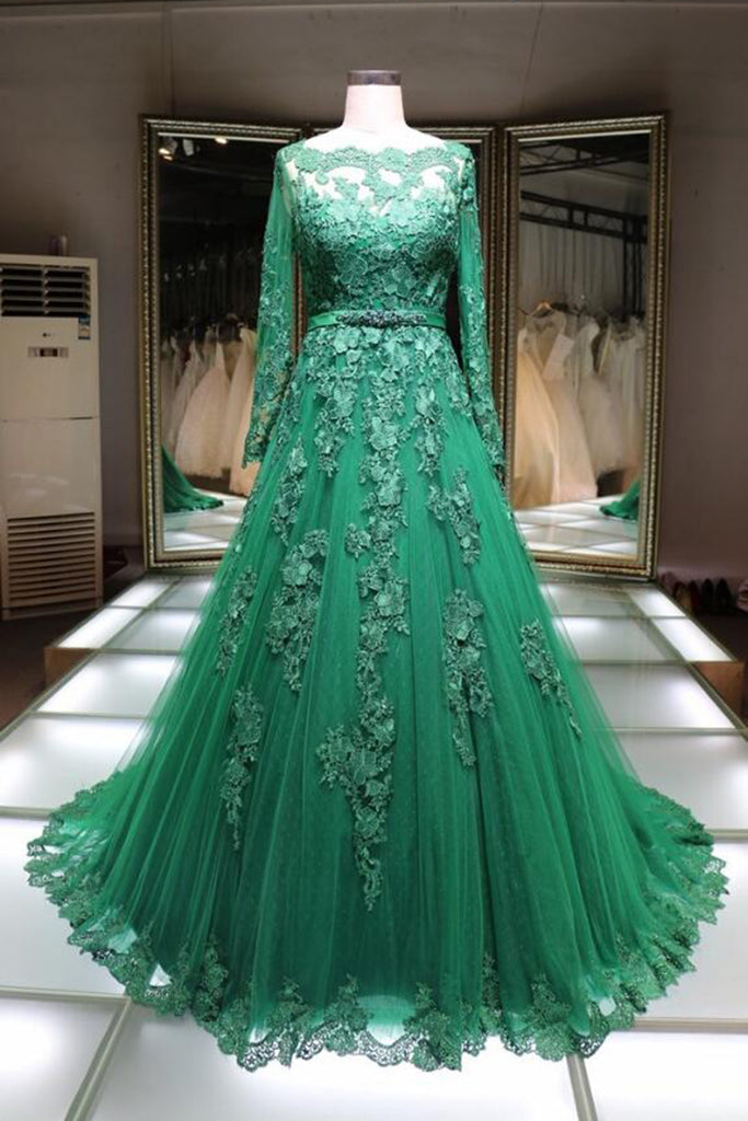 Sweet 16 Dresses | Green lace boat neck floor length handmade formal evening dress with long sleeves