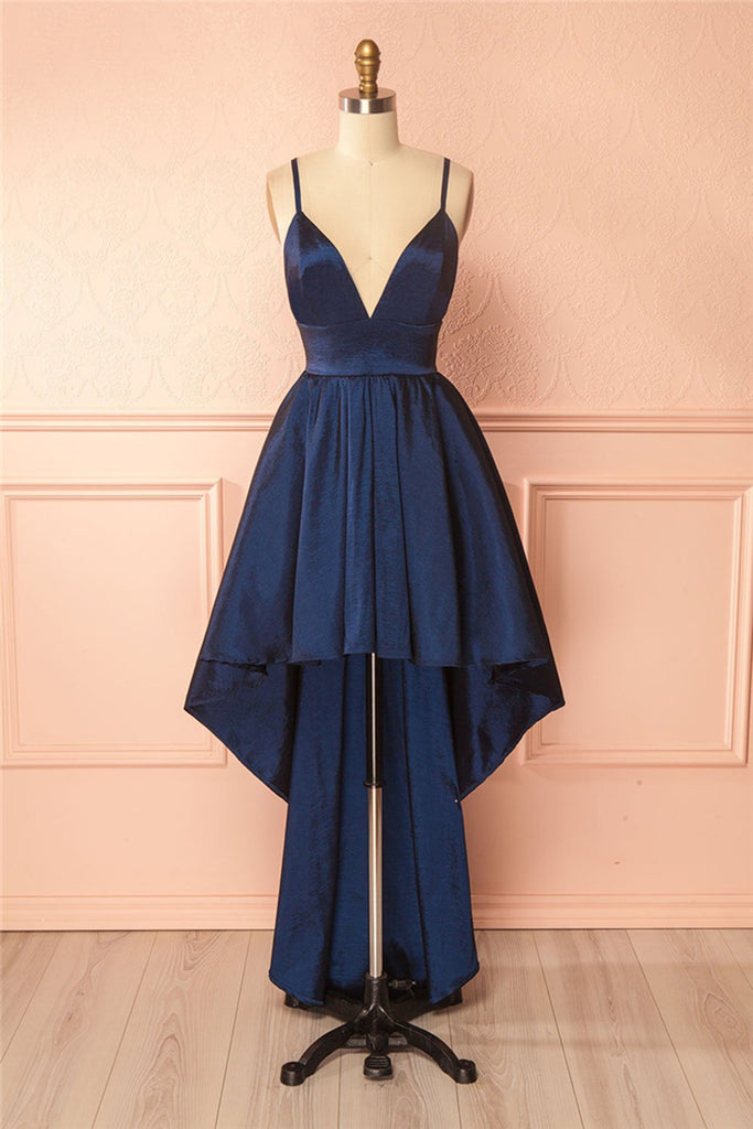 44a427f9226 Simple navy blue V neck spaghetti straps high low homecoming dress