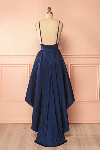 Sweet 16 Dresses | Simple navy blue  V neck spaghetti straps high low homecoming dress