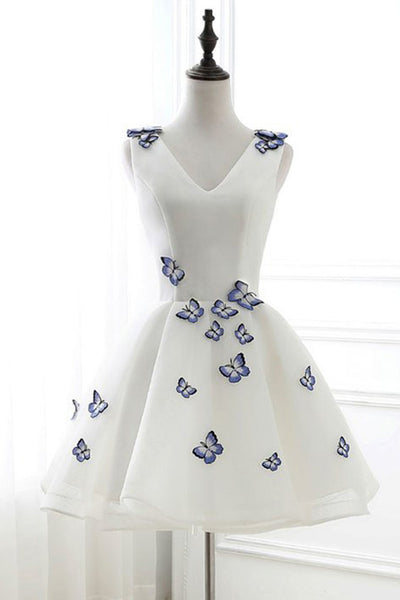 Sweet 16 Dresses | White V neck mini prom dress with 3D butterfly, short homecoming dress