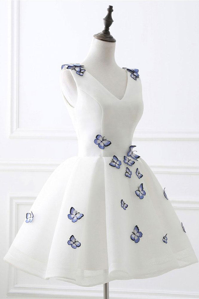 White V neck mini prom dress with 3D butterfly, short homecoming ...