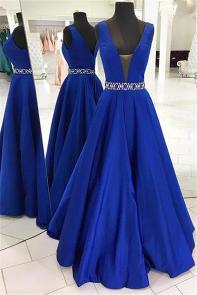 Sweet 16 Dresses | Royal blue satin V neck open back long beaded evening dresses