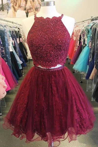 Sweet 16 Dresses | Spring burgundy tulle short two pieces homecoming dresses, short party dress
