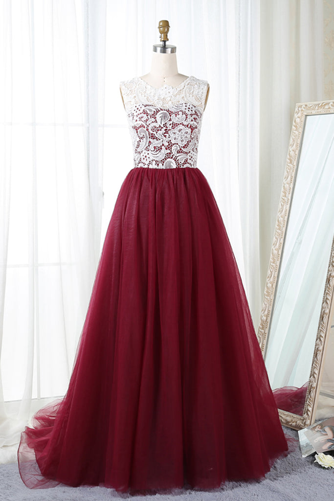 Unique Burgundy Tulle Long A Line Evening Dress Long Winter Formal