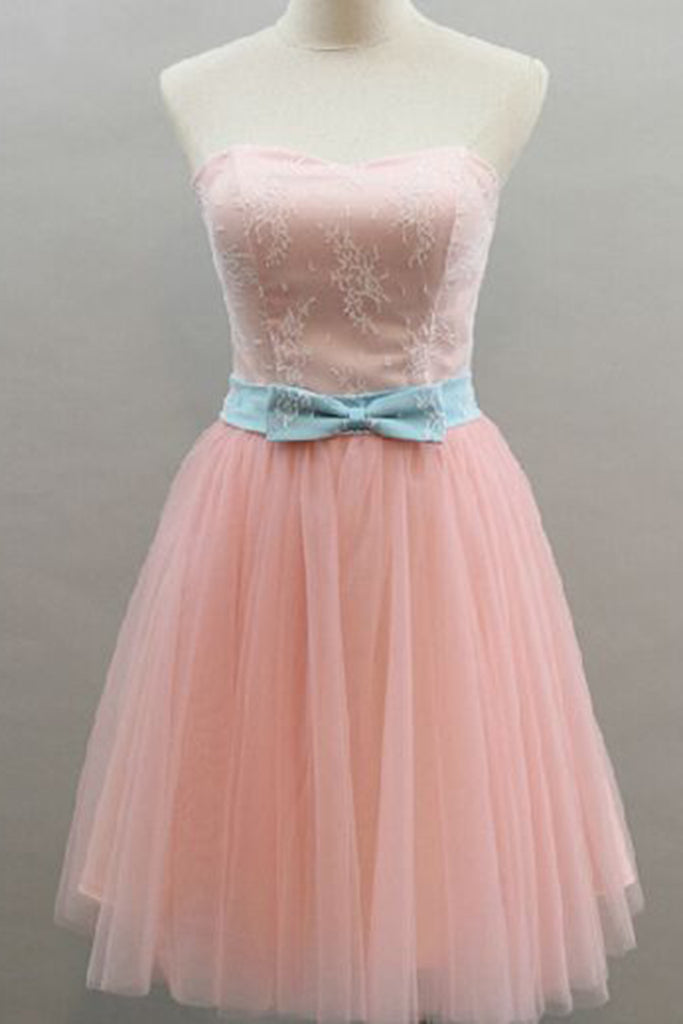 Sweet 16 Dresses | Sweetheart pink tulle short homecoming dress with bowknot, short pink bridesmaid dresses