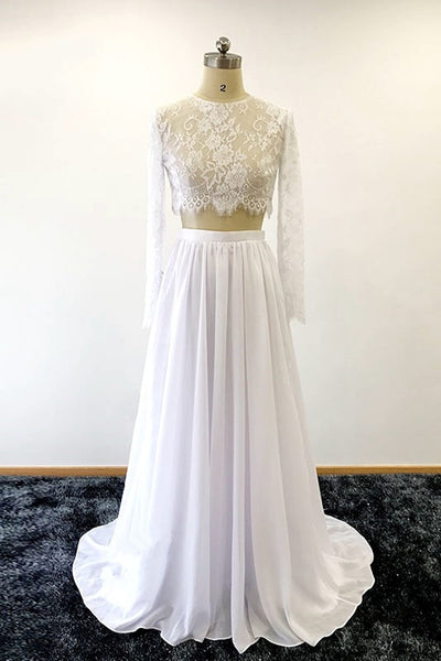 Sweet 16 Dresses | White lace two pieces long homecoming dress with sleeves, long chiffon wedding dresses