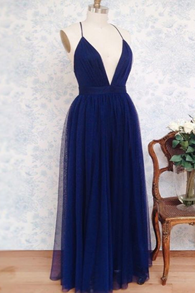 Sweet 16 Dresses | Simple navy blue tulle deep V neck backless long evening dresses