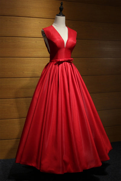 Sweet 16 Dresses | Red satin V neck hollow out back long senior prom dress with bowknot