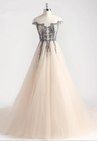 Light Champagne Tulle Long Lace Applique Prom Dress, Evening Dress