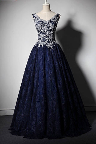 Stylish navy blue V neck long lace up evening dress with appliqués, long fall prom dress